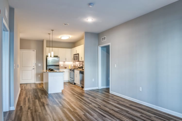 Open-concept floor plan at Harbor Pointe in Bayonne, New Jersey