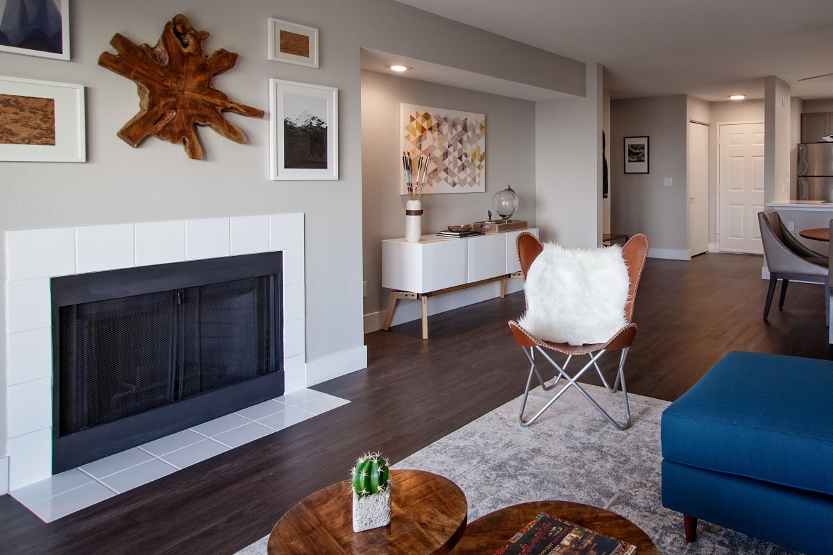 Fireplace, hardwood floors, and more in model home at MiLO at Mountain Park