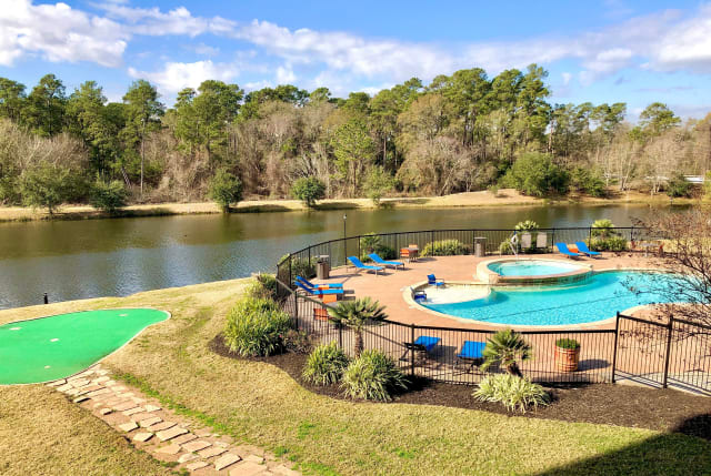 Pool overview at The Abbey on Lake Wyndemere in The Woodlands, TX