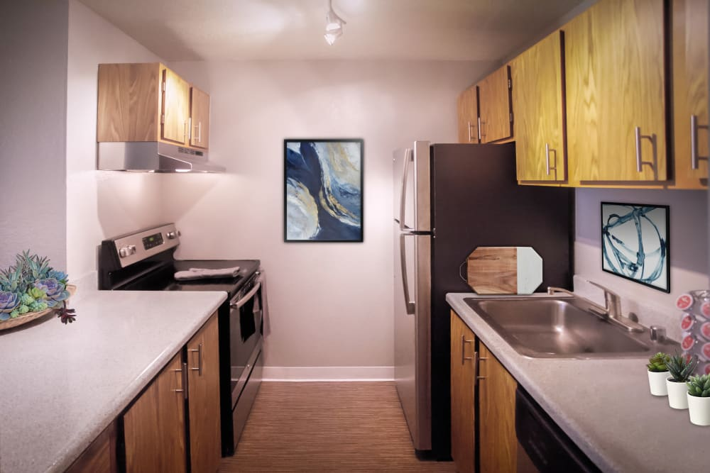 Fully equipped kitchen at Terra Apartment Homes in Federal Way, Washington