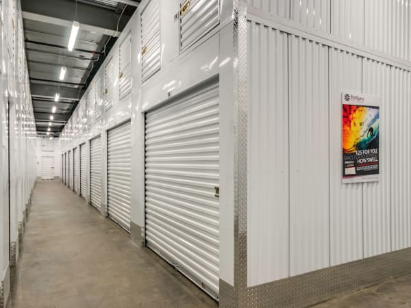 Hallway climate controlled storage units at StorQuest Self Storage