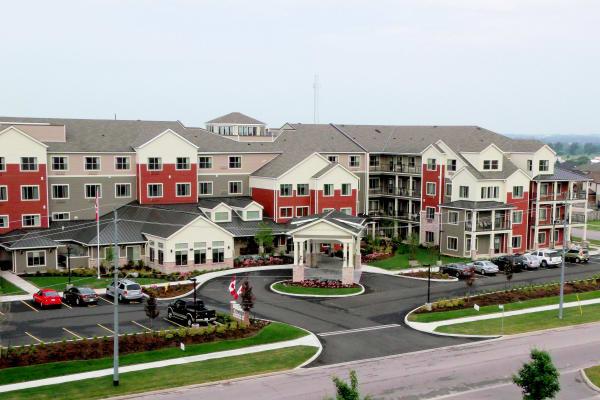 Building exterior of Cedarview Gracious Retirement Living in Woodstock, Ontario