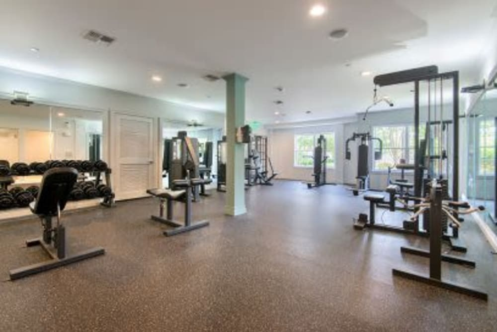 Weight room and fitness center at Sofi at Salem Station in Salem, Massachusetts