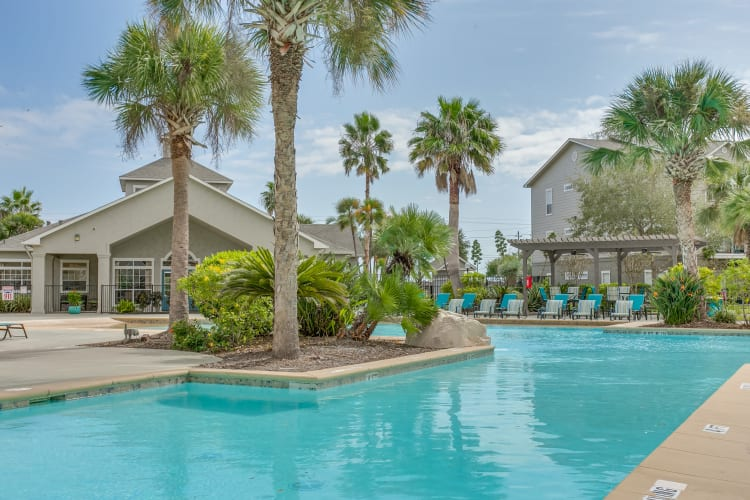 Swimming pool area at Azure Apartments in Corpus Christi, Texas
