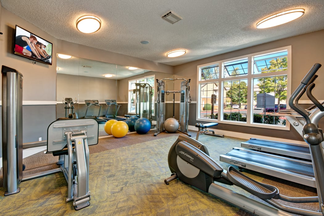 Onsite fitness center at StonePointe in University Place, WA