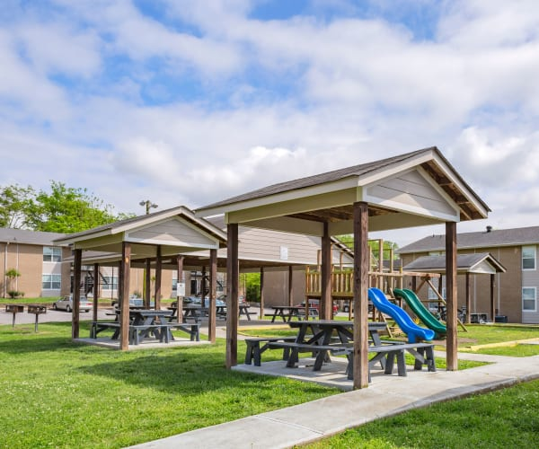 Playground and covered picnic tables at Maple Creek in Nashville, Tennessee
