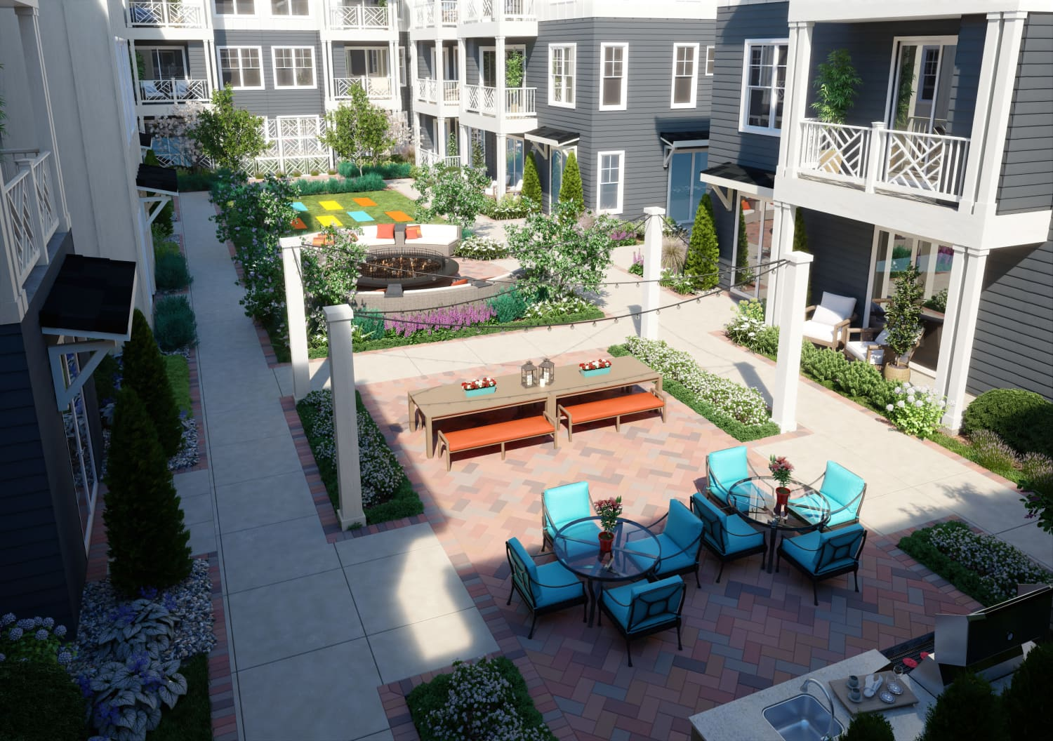 Rendering of courtyard at Avenida Cool Springs in Franklin