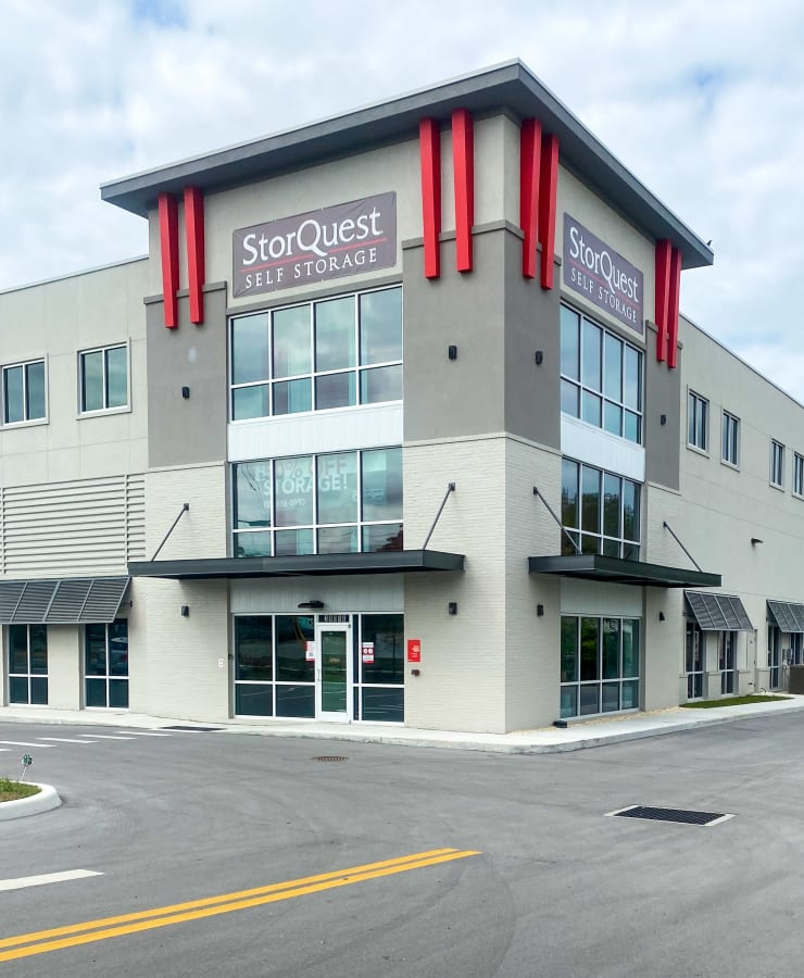 The exterior of the main entrance at StorQuest Self Storage in Tarpon Springs, Florida