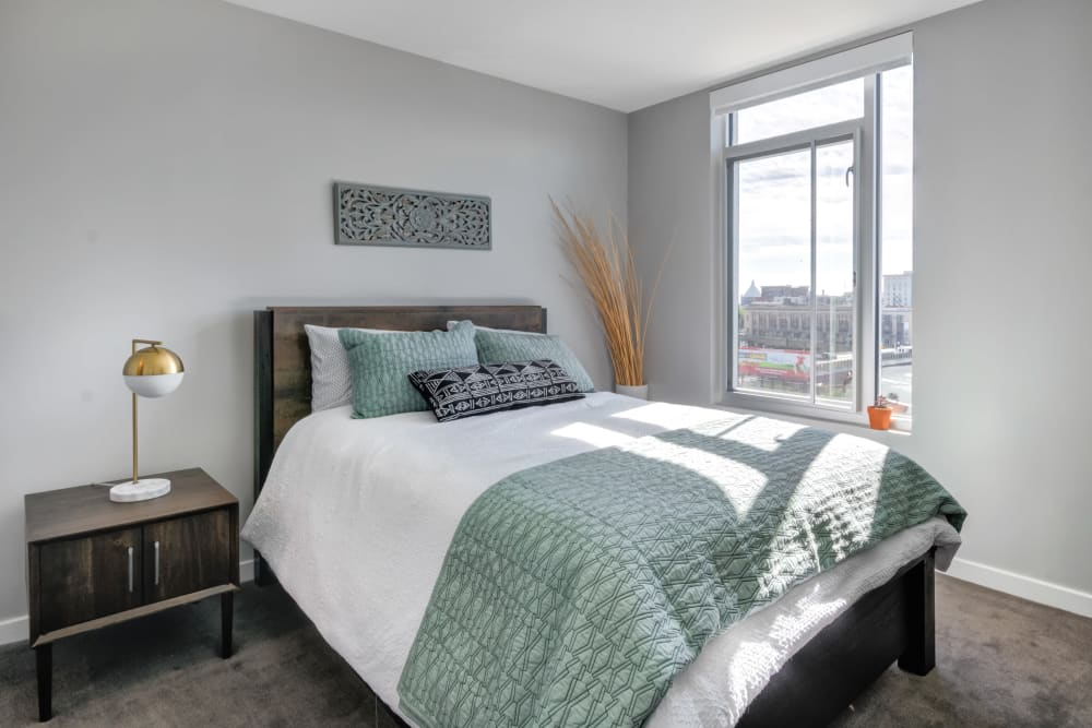 Master bedroom at Nelson Kohl Apartments in Baltimore, Maryland