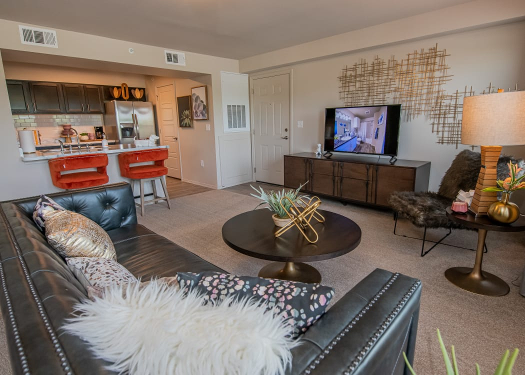 Bright living area at Cottages at Crestview in Wichita, Kansas