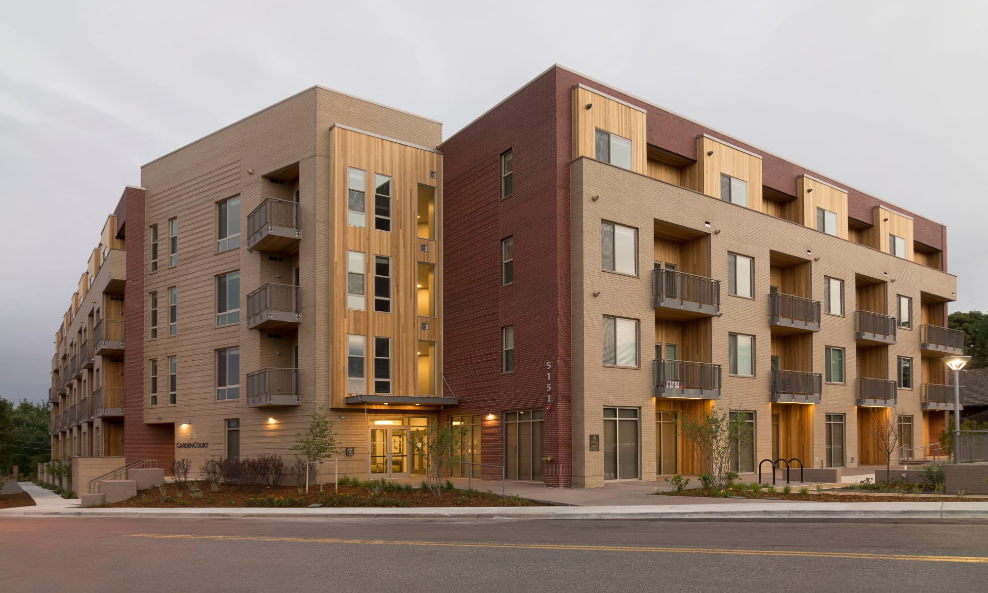Beautiful shot of the building at Garden Court Apartments Yale Station in Denver, Colorado