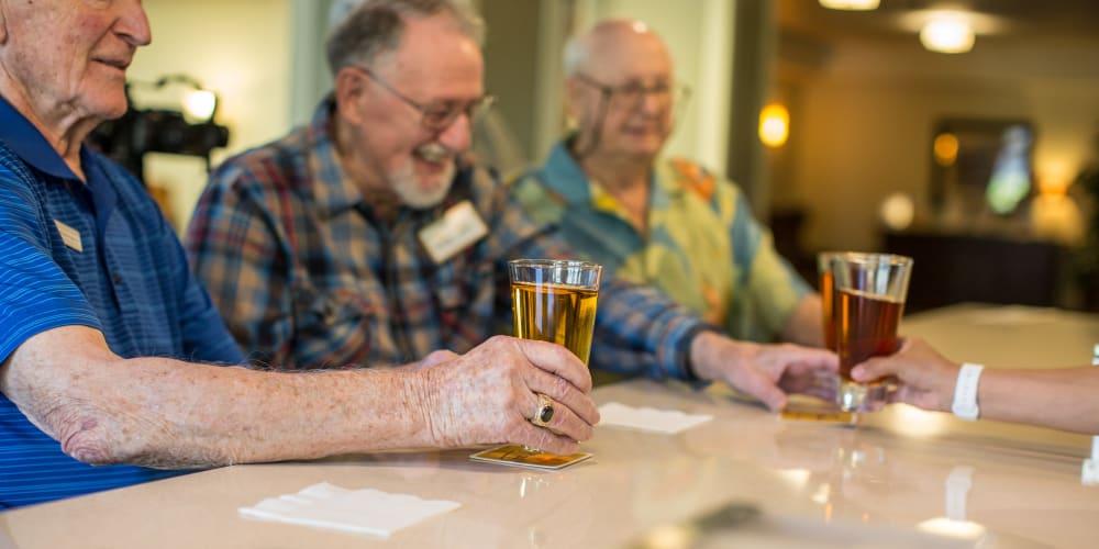 Residents drinking at the bar at The Springs at Veranda Park in Medford, Oregon