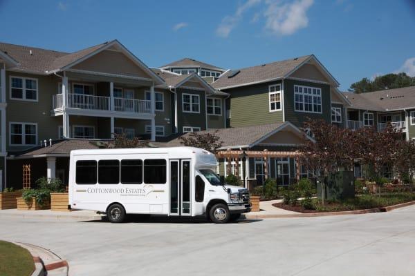 Community bus in front of Cottonwood Estates Gracious Retirement Living in Alpharetta, Georgia