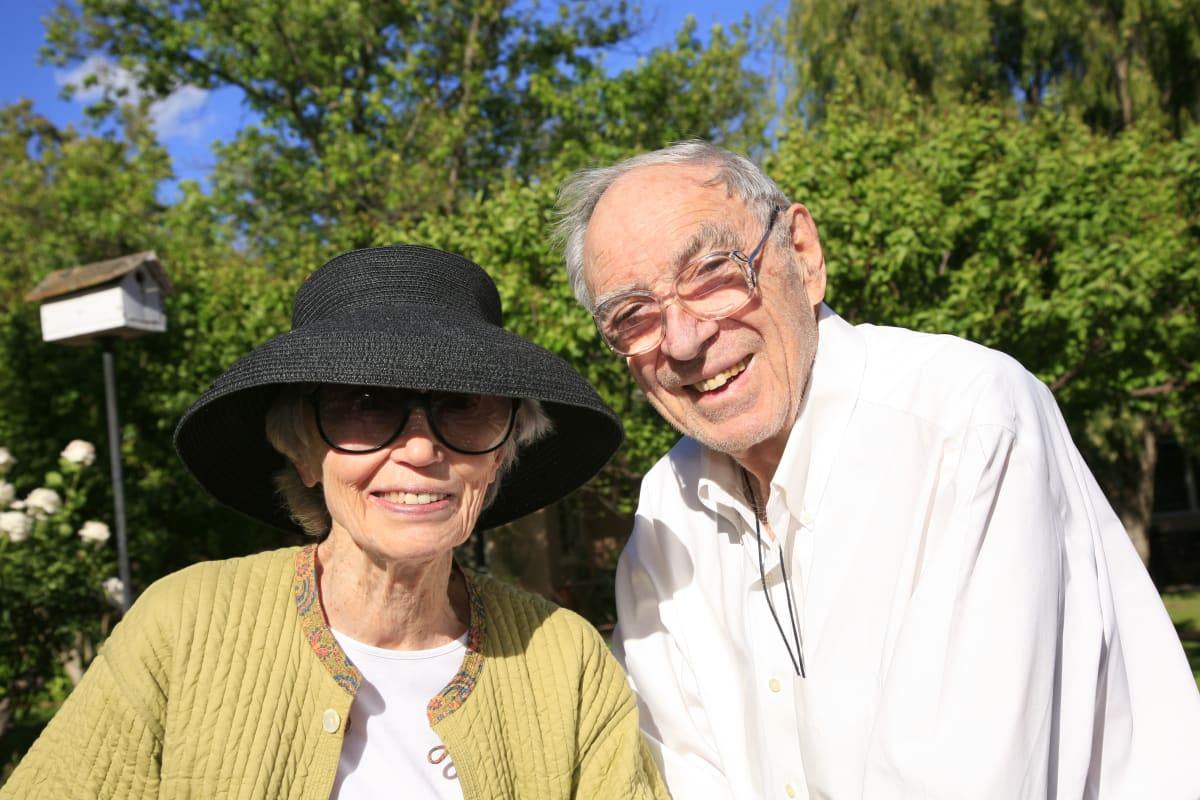 Two happy residents enjoying a sunny day at Gables of Ojai in Ojai, California