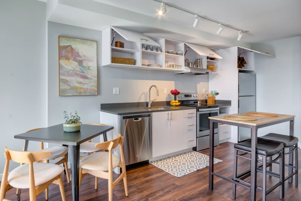 Kitchen in apartments in Baltimore, Maryland at Nelson Kohl Apartments
