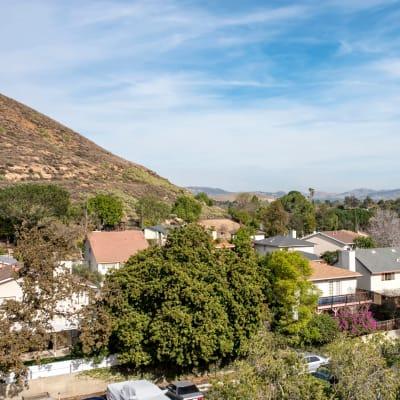 View of the neighborhood nestled near the bottom of the butte near Sofi Thousand Oaks in Thousand Oaks, California