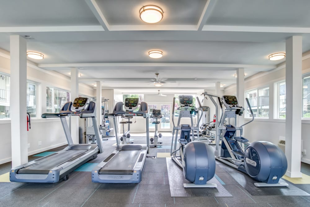 Treadmills and stair steppers in the fitness center at Sofi at Los Gatos Creek in San Jose, California