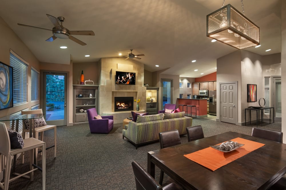 Contemporary decor in resident clubhouse at Bellagio in Scottsdale, Arizona
