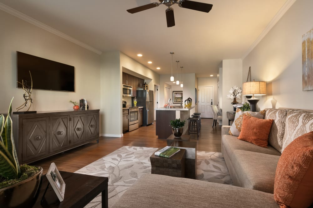 Beautiful open-concept floor plan with hardwood floors in model home at San Sonoma in Tempe, Arizona