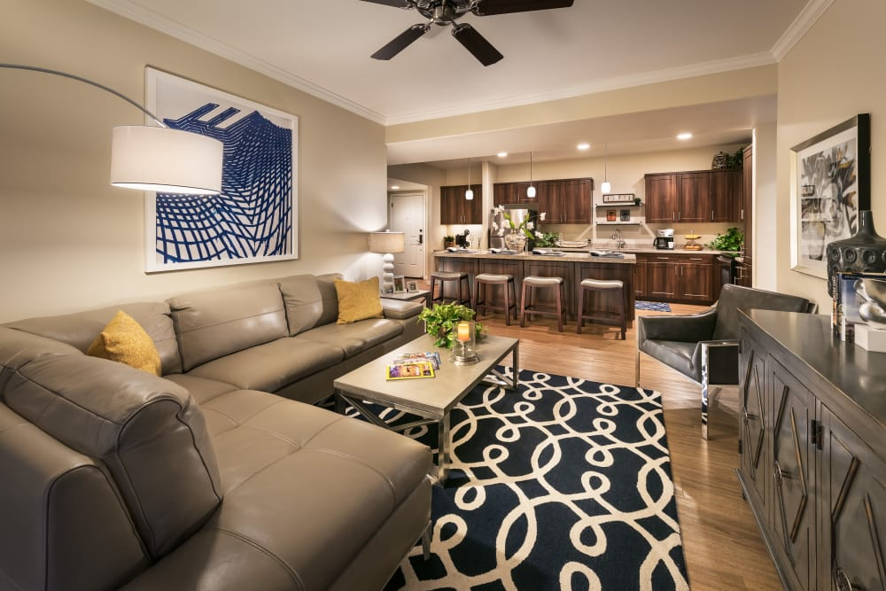 Well-decorated living area in model home at San Sonoma in Tempe, Arizona
