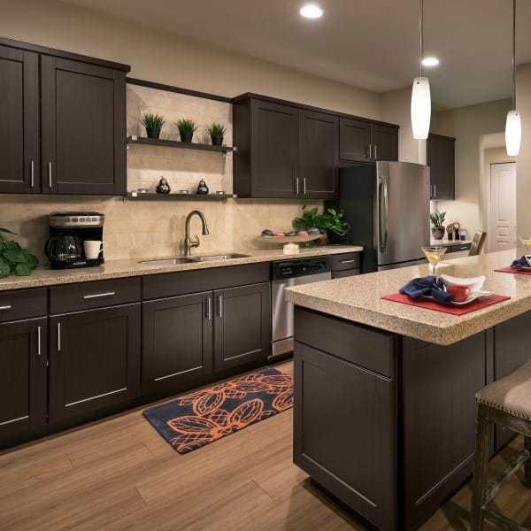 Kitchen with dark wood cabinetry and granite countertops in model home at San Milan in Phoenix, Arizona