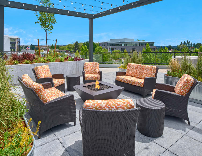 Fire pit seating at The Maverick in Burien, WA