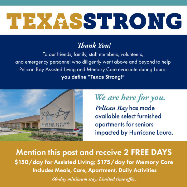 Texas Strong discounted rates for Pelican Bay
