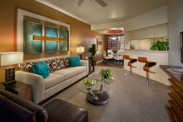 Retro-modern decor in an open-concept floor plan of a model home at San Palmilla in Tempe, Arizona