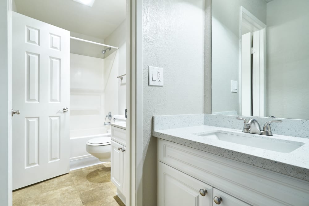 Bathroom sink and vanity at Breakwater Apartments in Santa Cruz, California