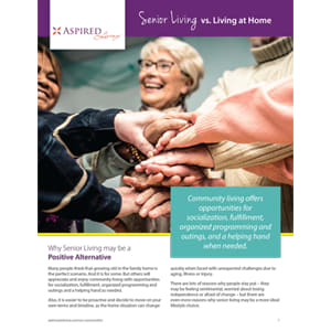 Read the senior living vs. living at home white paper at Azpira at Windermere in Windermere, Florida.