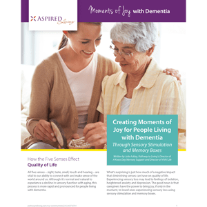 Learn more about Moments of Joy with Dementia at Aspired Living of Prospect Heights in Prospect Heights, Illinois