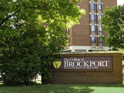 The College or Brockport's sign near Brockport Landing in Brockport, New York