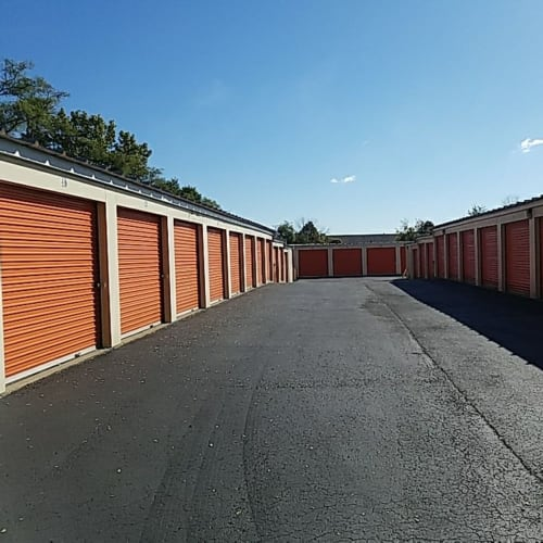 Two rows of storage units at Red Dot Storage in Gurnee, Illinois