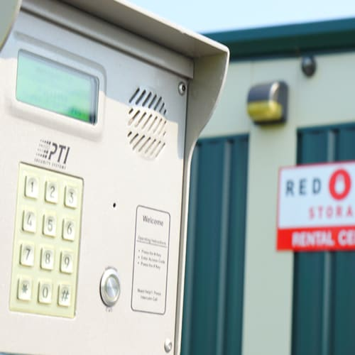 A keypad at the gate of Red Dot Storage in Machesney Park, Illinois