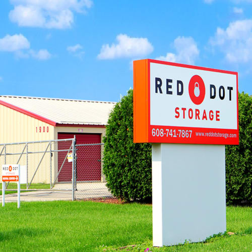 Sign at the street entrance of Red Dot Storage in Janesville, Wisconsin