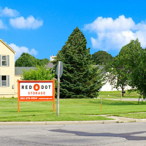 Sign at the street entrance of Red Dot Storage in Genoa City, Wisconsin