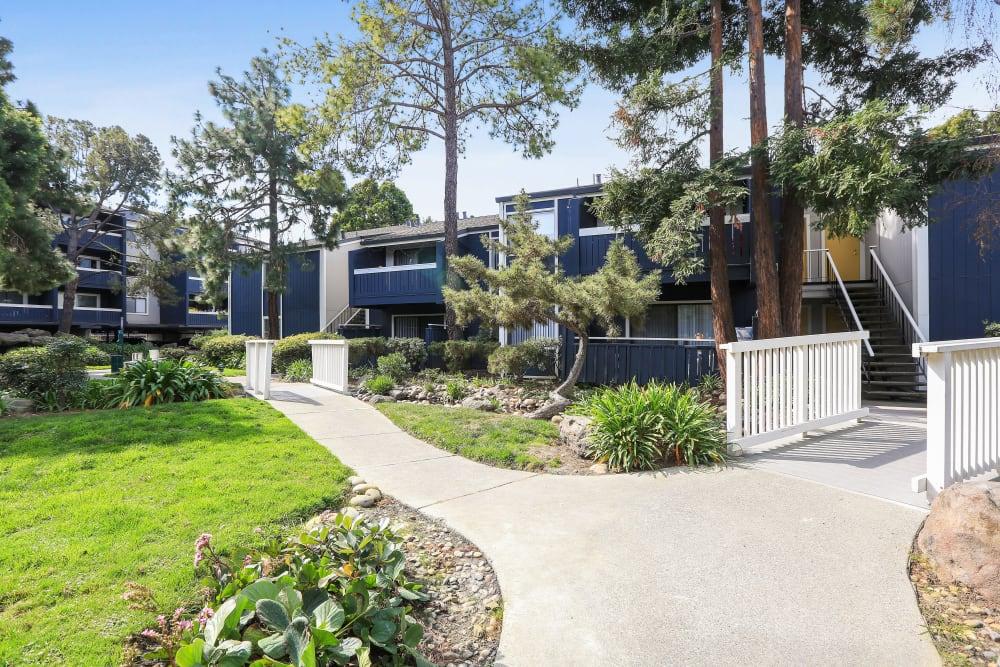 Bridge walkways at Ballena Village Apartment Homes in Alameda, California