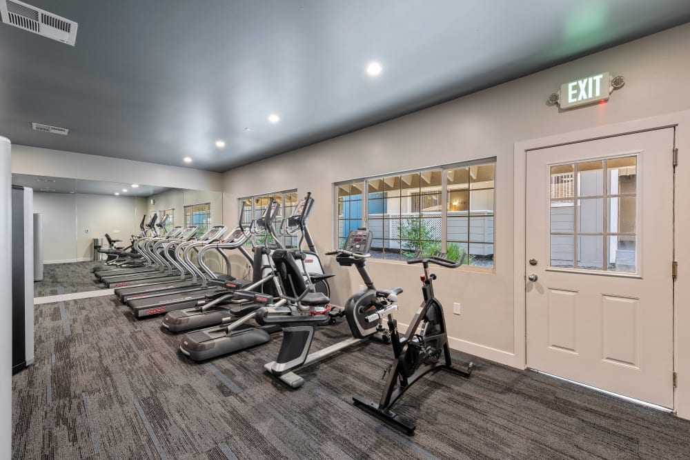 A fitness center with individual workout stations at Shadow Oaks Apartment Homes in Cupertino, California