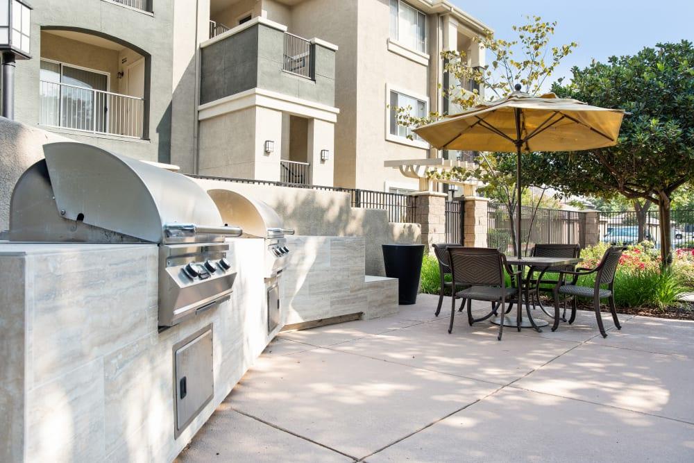 A spacious patio at Cross Pointe Apartment Homes in Antioch, California
