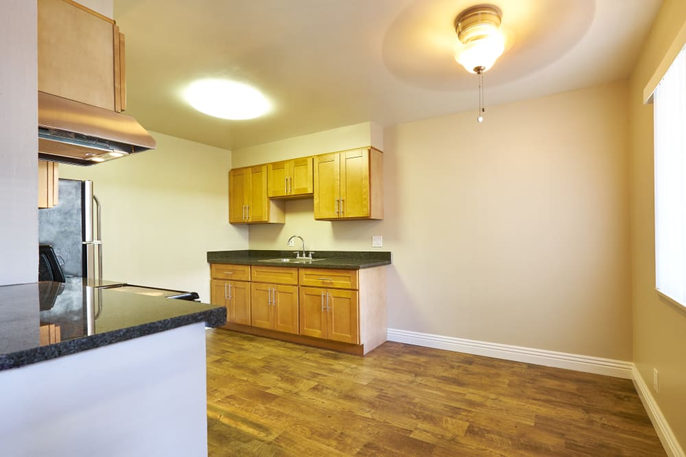 Kitchen with plenty of counter top space at Palms at the Pruneyard in Campbell, California