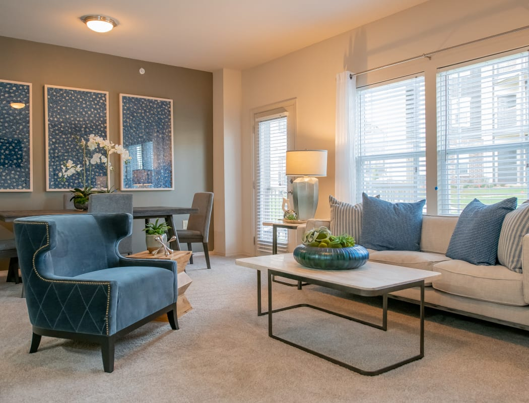 Spacious living rooms with natural light at Bend at New Road Apartments in Waco, Texas