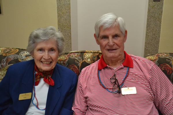 Two residents dressed for Fourth of July at Cypress Springs Gracious Retirement Living in Bradenton, Florida