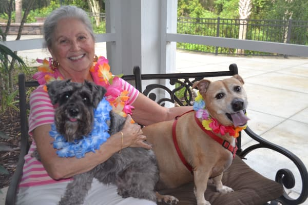 A resident with her dogs at Fairview Estates Gracious Retirement Living in Hopkinton, Massachusetts
