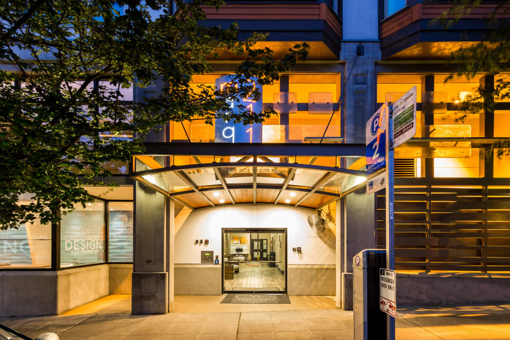Leasing office exterior at Marq 211 in Seattle, Washington