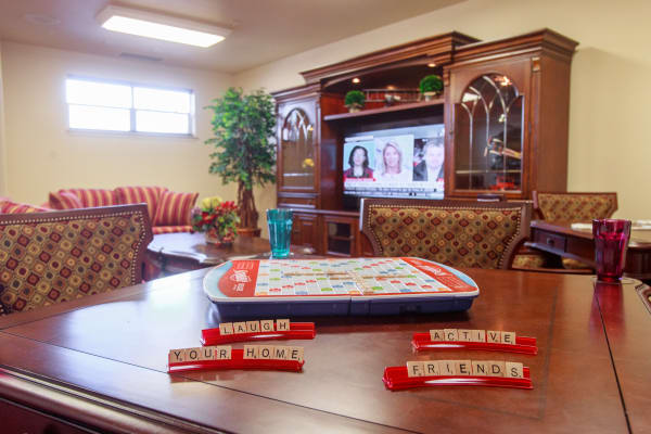 Scrabble on a table in the game room a Ashton Gardens Gracious Retirement Living in Portland, Maine