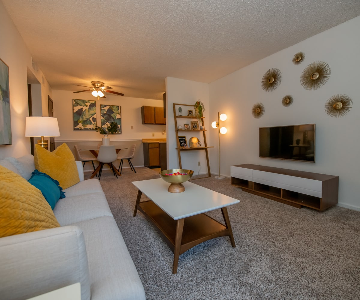 Living room and kitchen at Fox Run Apartments in Wichita, Kansas