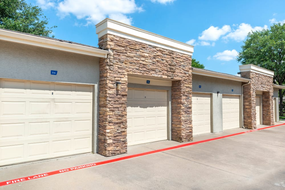 Private garages available at Olympus Stone Glen in Keller, Texas