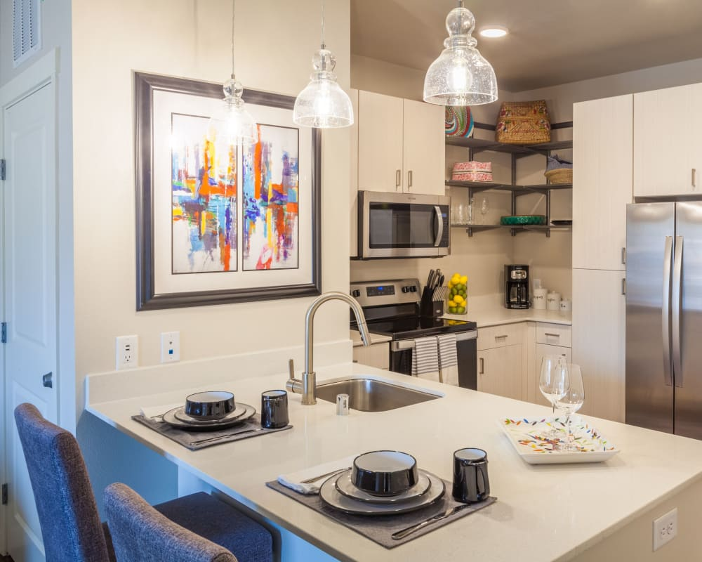 Spacious kitchen in a model home at Capitol Flats in Santa Fe, New Mexico