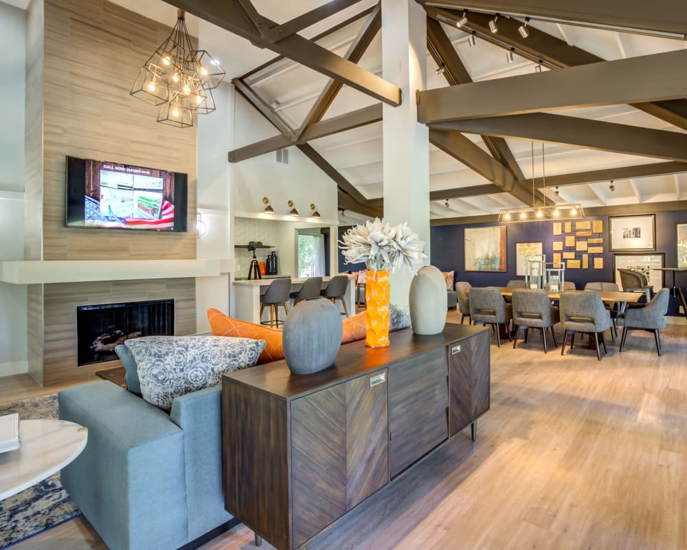 Comfortable and modern decor in the resident clubhouse at Sofi Fremont in Fremont, California