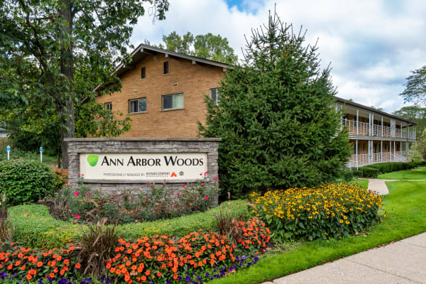 Exterior of apartments at Ann Arbor Woods Apartments in Ann Arbor, Michigan